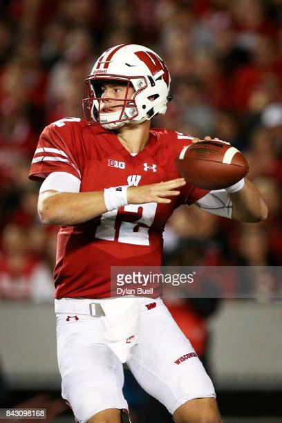Alex Hornibrook of the Wisconsin Badgers throws a pass in the second quarter against the Utah State Aggies at Camp Randall Stadium on September 1...