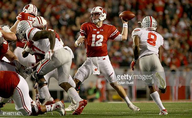 Alex Hornibrook of the Wisconsin Badgers throws a touchdown pass in the first quarter against the Ohio State Buckeyes at Camp Randall Stadium on...