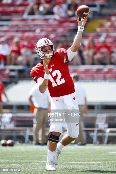 Alex Hornibrook of the Wisconsin Badgers warms up before the game against the BYU Cougars at Camp Randall Stadium on September 15 2018 in Madison...