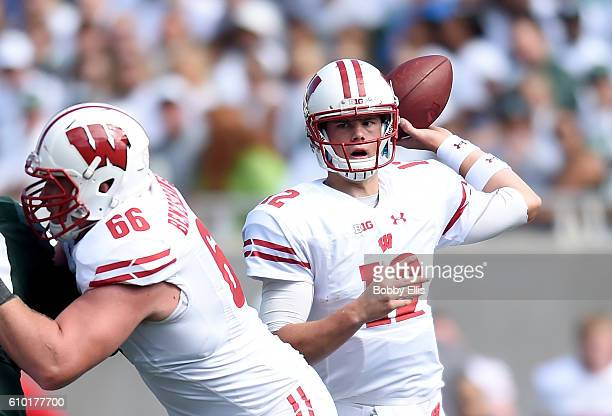 Alex Hornibrook passes the ball during the game against the Michigan State Spartans at Spartan Stadium on September 24 2016 in East Lansing Michigan