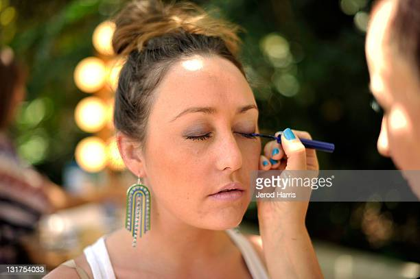 Alex Houck gets her makeup done by an artist from Stila at Alison Brod Public Relations Los Angeles Summer Style Event on June 15 2011 in Beverly...