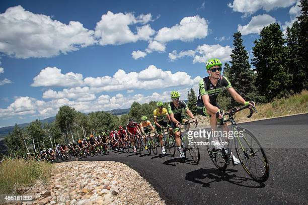 Alex Howes of the Cannondale-Garmin Pro Cycling Team leads his team to defend the yellow jersey during stage 7 of the Tour of Utah on August 9, 2015...