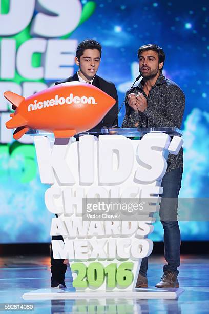 Alex Hoyer and Santiago Ramundo speaks on stage during the Nickelodeon Kids' Choice Awards Mexico 2016 at Auditorio Nacional on August 20 2016 in...
