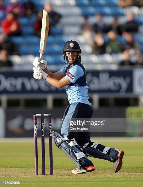 Alex Hughes of Derbyshire Falcons in action during the Natwest T20 Blast match between Derbyshire Falcons and Leicestershire Foxes at the 3aaa County...