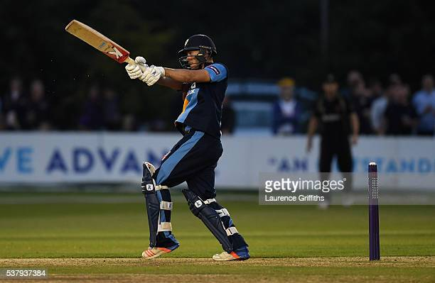 Alex Hughes of Derbyshire hits out during the NatWest T20 Blast match between Derbyshire Falcons and Leicestershire Foxes at The County Ground on...