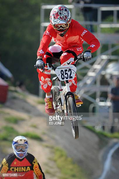 Alex Hunter of Hong Kong competes during the second round of the preliminary mens elite BMX event of the 2009 East Asian Games in Hong Kong on...