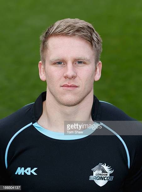 Alex Hurst of London Broncos poses for a headshot during the London Broncos Photocall at Honourable Artillery Company on January 11 2013 in London...