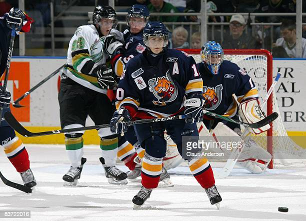 Alex Hutchings of the Barrie Colts gets set to block a shot in a game against the London Knights on November 14, 2008 at the John Labatt Centre in...