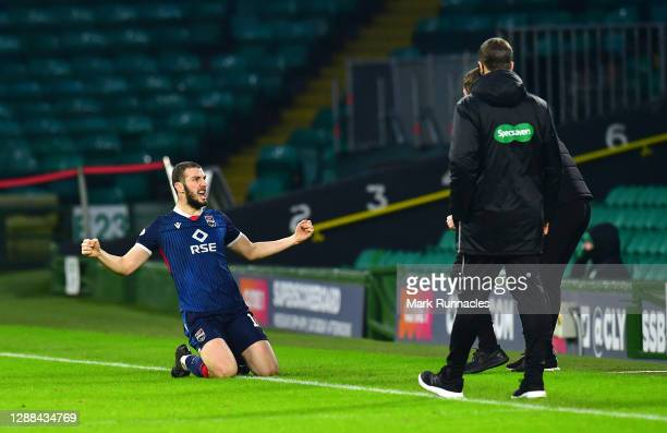 Alex Iacovitti of Ross County celebrates after scoring their team's second goal during the Betfred Cup match between Celtic and Ross County at Celtic...