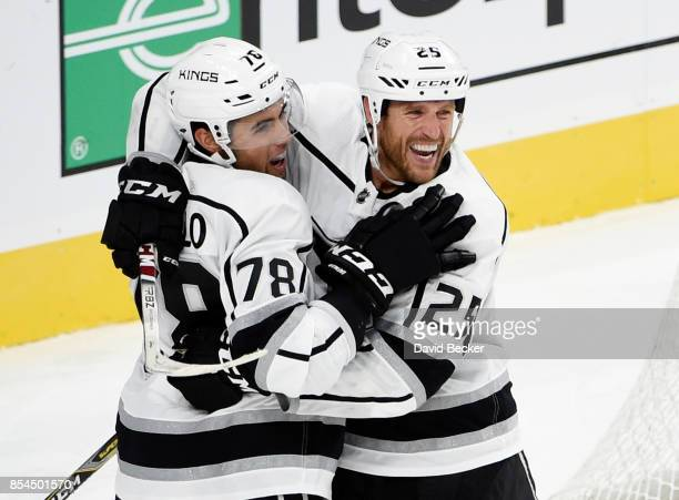 Alex Iafallo and Brooks Laich of the Los Angeles Kings celebrate the gamewinning goal after Laich scored 12 seconds into overtime during a preseason...