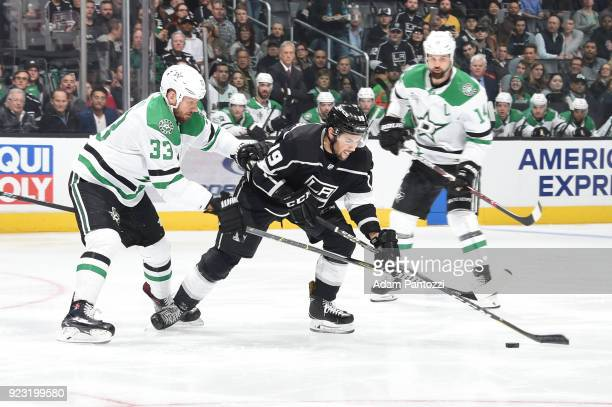 Alex Iafallo of the Los Angeles Kings battles for the puck against Marc Methot of the Dallas Stars at STAPLES Center on February 22 2018 in Los...