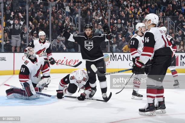 Alex Iafallo of the Los Angeles Kings celebrates after scoring a goal against the Arizona Coyotes at STAPLES Center on February 3 2018 in Los Angeles...