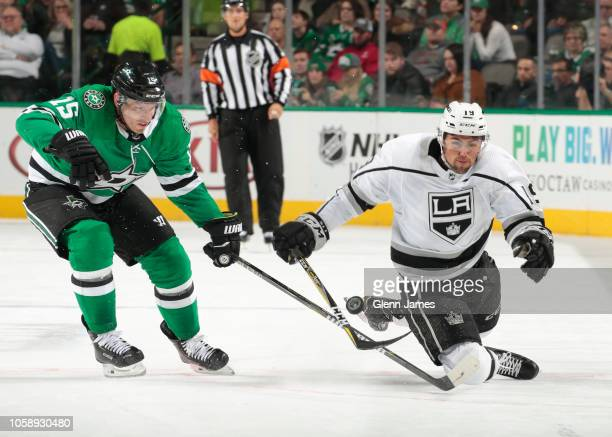 Alex Iafallo of the Los Angeles Kings handles the puck against Blake Comeau of the Dallas Stars at the American Airlines Center on October 23 2018 in...