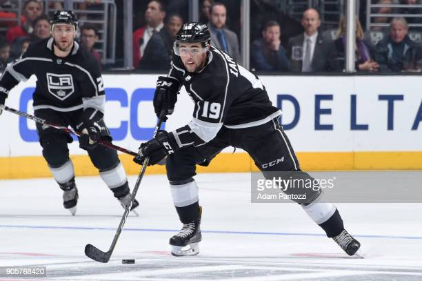 Alex Iafallo of the Los Angeles Kings handles the puck during a game against the San Jose Sharks at STAPLES Center on January 15 2018 in Los Angeles...