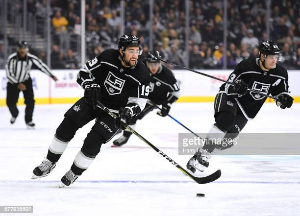 Alex Iafallo of the Los Angeles Kings leads a rush with Dustin Brown and Anze Kopitar during the second period against the Winnipeg Jets at Staples...
