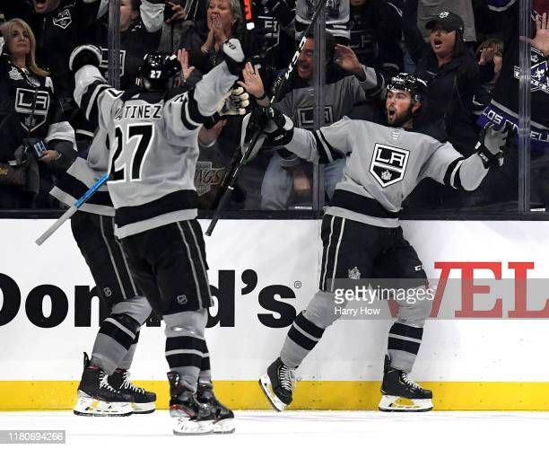 Alex Iafallo of the Los Angeles Kings reacts to his goal, to take a 5-4 lead over the Nashville Predators, during a 7-4 win at Staples Center on...