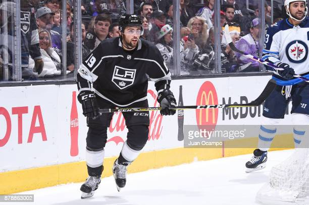 Alex Iafallo of the Los Angeles Kings skates towards the puck during a game against the Winnipeg Jets at STAPLES Center on November 22 2017 in Los...