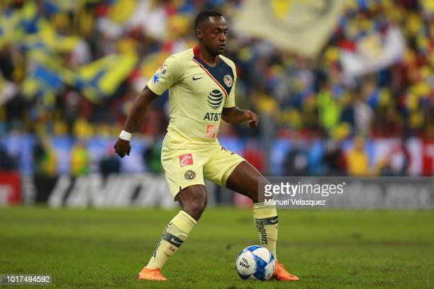 Alex Ibarra Mina of America controls the ball during the fourth round match between Club America and Monterrey as part of the Torneo Apertura 2018...
