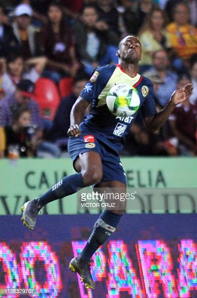Alex Ibarra of America controls the ball against Morelia during their Mexican Clausura 2019 tournament football match at the Morelos stadium in...