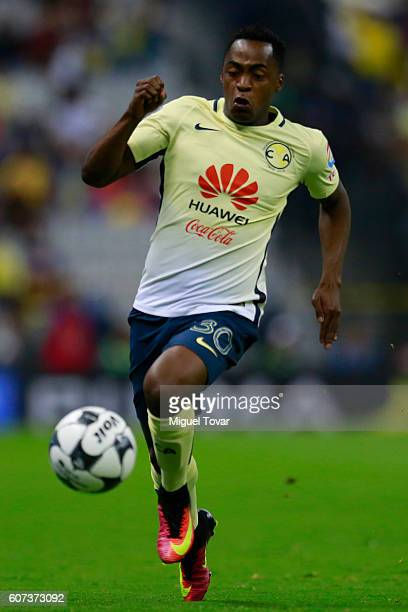 Alex Ibarra of America drives the ball during the 9th round match between America and Leon as part of the Torneo Apertura 2016 Liga MX at Azteca...