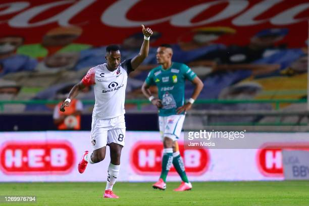 Alex Ibarra of Atlas celebrates after scoring the first goal of his team during the 7th round match between Leon and Atlas as part of the Torneo...