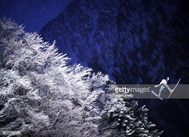 Alex Insam of Italy soars through the air during his second competition jump of the Ski Flying World Championships on January 19 2018 in Oberstdorf...