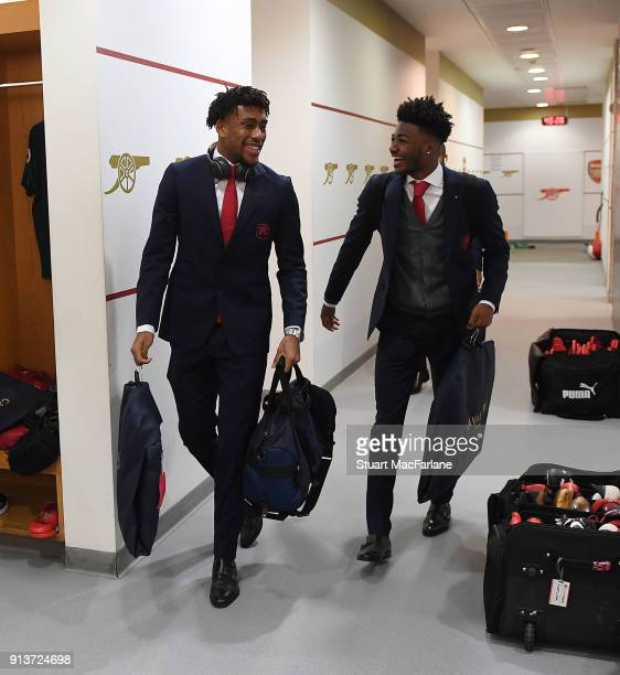 Alex Iwobi and Ainsley MaitlandNiles in the Arsenal changing room before the Premier League match between Arsenal and Everton at Emirates Stadium on...