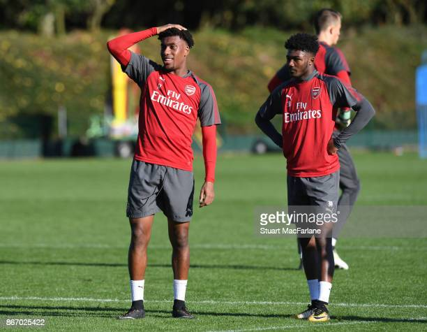 Alex Iwobi and Ainsley MaitlandNiles of Arsenal during a training session at London Colney on October 27 2017 in St Albans England