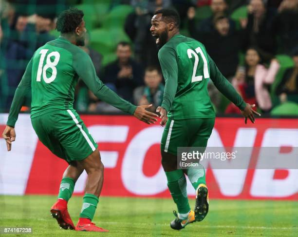 Alex Iwobi and Brian Idowu of Nigeria celebrate a goal during Argentina and Nigeria International friendly match at Krasnodar Stadium on November 14...