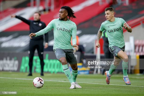 Alex Iwobi and Lucas Digne of Everton during the Premier League match between Southampton and Everton at St Mary's Stadium on October 25 2020 in...