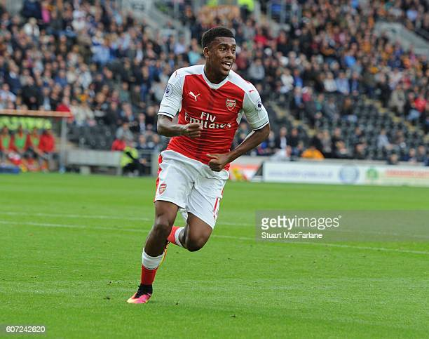 Alex Iwobi celebrates a goal for Arsenal during the Premier League match between Hull City and Arsenal at KCOM Stadium on September 17 2016 in Hull...