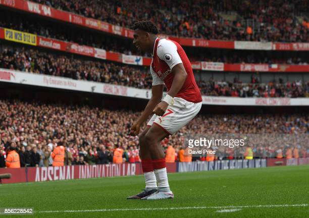 Alex Iwobi celebrates scoring Arsenal's 2second goal during the Premier League match between Arsenal and Brighton and Hove Albion at Emirates Stadium...