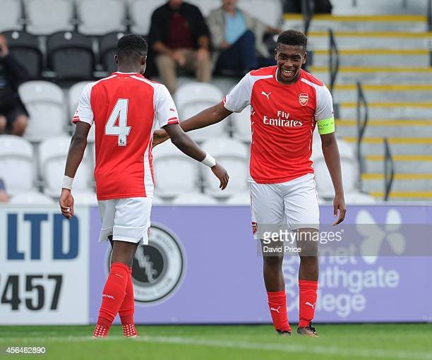 Alex Iwobi celebrates scoring Arsenal's 4th goal with Ainsley Maitland-Niles during the UEFA Youth League match between Arsenal and Galatasaray at...