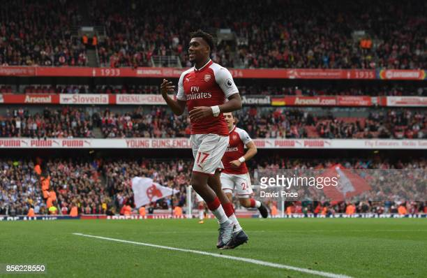 Alex Iwobi celebrates scoring Arsenal's second goal during the Premier League match between Arsenal and Brighton and Hove Albion at Emirates Stadium...