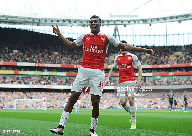 Alex Iwobi celebrates scoring the 2nd Arsenal goal during the Barclays Premier League match between Arsenal and Watford at Emirates Stadium on April...