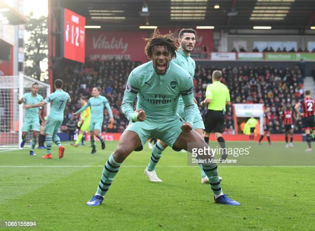 Alex Iwobi celebrates the 2nd Arsenal goal during the Premier League match between AFC Bournemouth and Arsenal FC at Vitality Stadium on November 25...