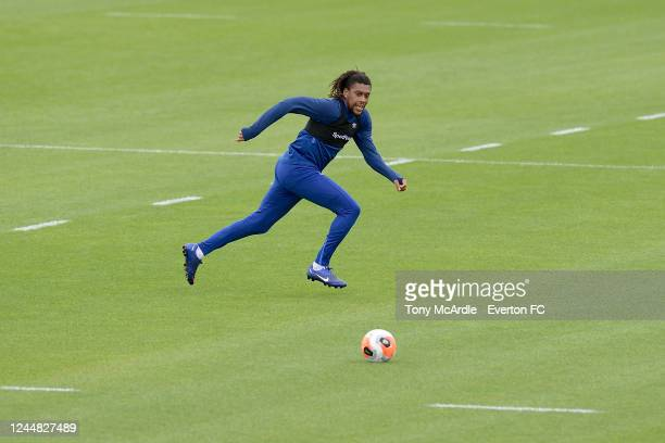 Alex Iwobi during the Everton training session at USM Finch Farm on June 3 2020 in Halewood England