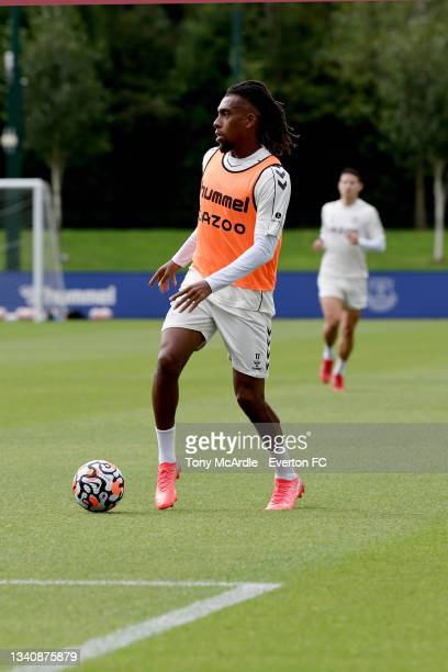 Alex Iwobi during the Everton Training Session at USM Finch Farm on September 16 2021 in Halewood, England.