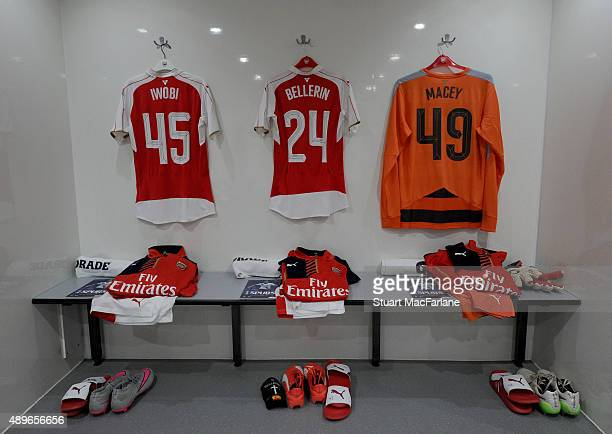 Alex Iwobi Hector Bellerin and Matt Macey shirts in the Arsenal changing room before the Capital One Cup Third Round match between Tottenham Hotspur...