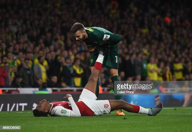 Alex Iwobi of Arsenal and Angus Gunn of Norwich during the Carabao Cup Fourth Round match between Arsenal and Norwich City at Emirates Stadium on...