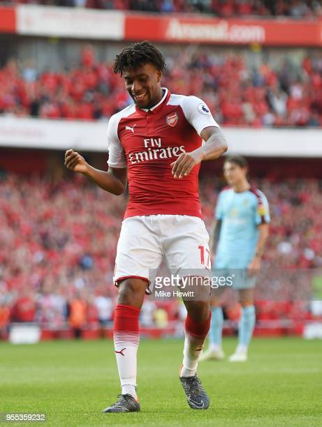 Alex Iwobi of Arsenal celebrates after scoring his sides fourth goal during the Premier League match between Arsenal and Burnley at Emirates Stadium...
