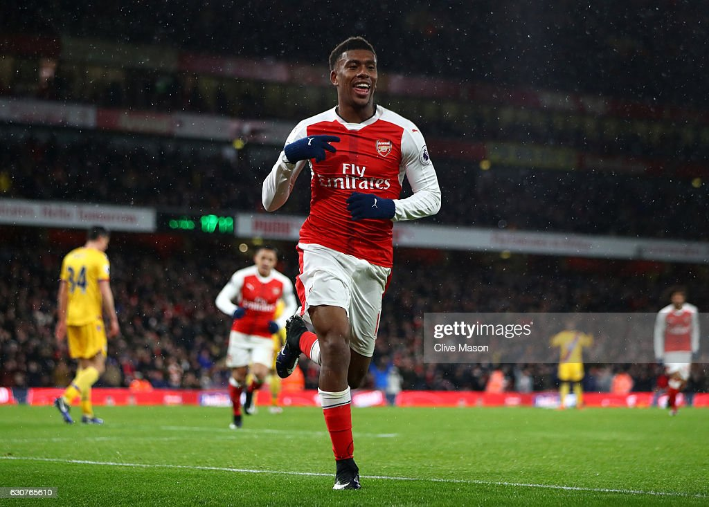 Alex Iwobi of Arsenal celebrates after scoring his team's second goal during the Premier League match between Arsenal and Crystal Palace at the Emirates Stadium on January 1, 2017 in London, England.