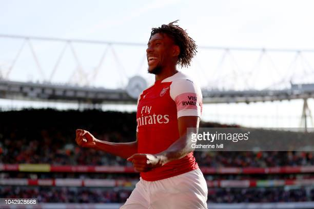 Alex Iwobi of Arsenal celebrates after their first goal during the Premier League match between Arsenal FC and Watford FC at Emirates Stadium on...