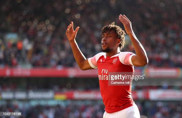 Alex Iwobi of Arsenal celebrates during the Premier League match between Arsenal FC and Watford FC at Emirates Stadium on September 29 2018 in London...