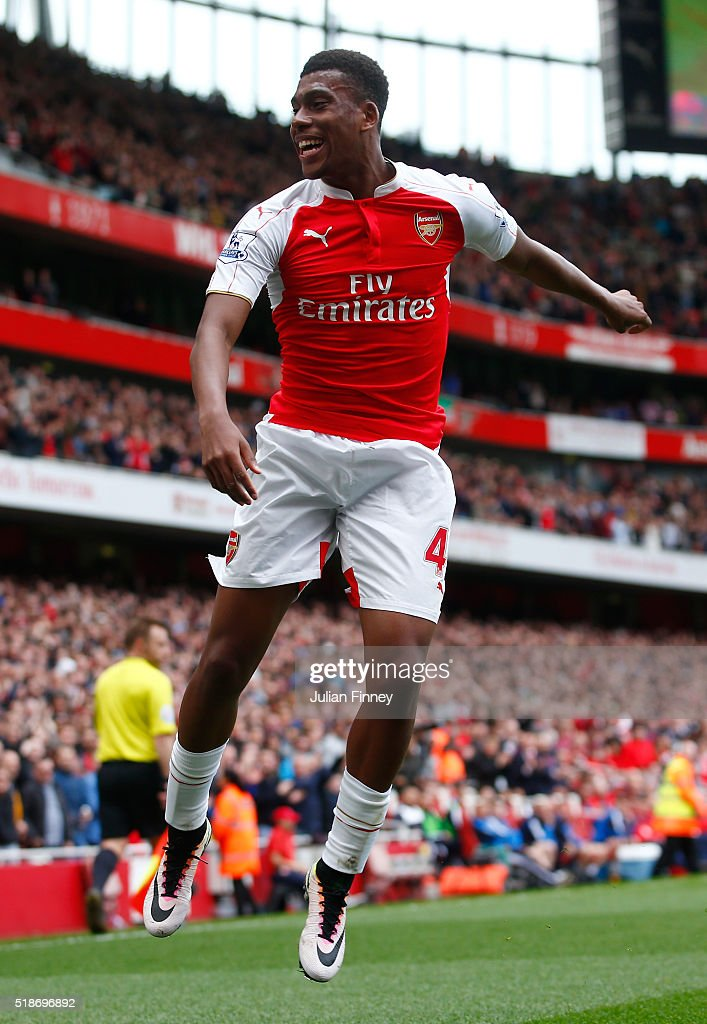 Alex Iwobi of Arsenal celebrates scoring his team's second goal during the Barclays Premier League match between Arsenal and Watford at Emirates Stadium on April 2, 2016 in London, England.