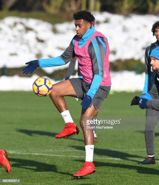 Alex Iwobi of Arsenal during a training session at London Colney on December 12 2017 in St Albans England