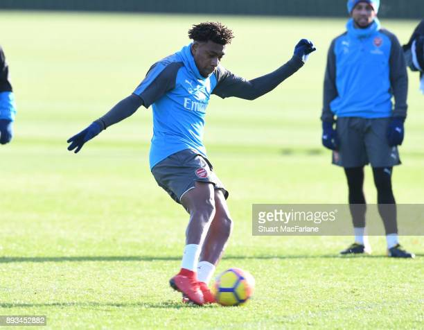 Alex Iwobi of Arsenal during a training session at London Colney on December 15 2017 in St Albans England
