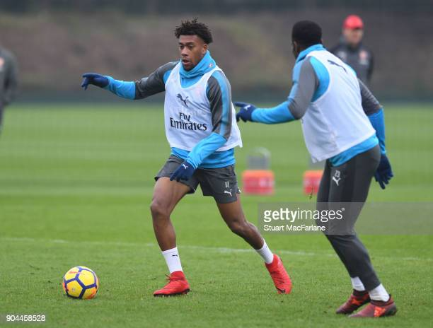 Alex Iwobi of Arsenal during a training session at London Colney on January 13 2018 in St Albans England