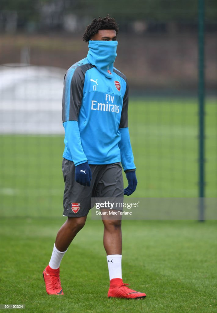 Alex Iwobi of Arsenal during a training session at London Colney on January 13, 2018 in St Albans, England.