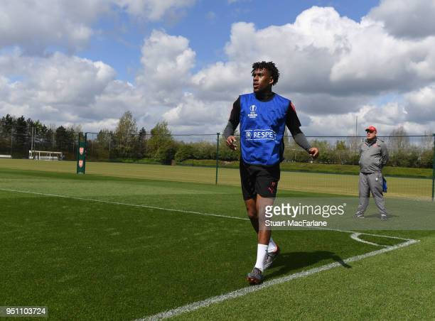 Alex Iwobi of Arsenal during a training session at London Colney on April 25 2018 in St Albans England